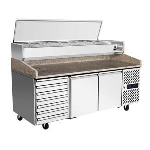 ATOSA 2 Door Refrigerated Pizza Table With Drawers